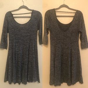 Skater Dress Gray 3/4 sleeve